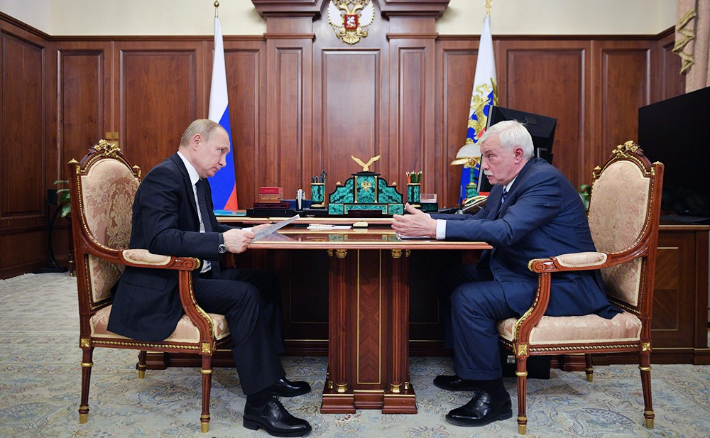 Владимир Путин и глава Объединённой судостроительной корпорации Георгий Полтавченко