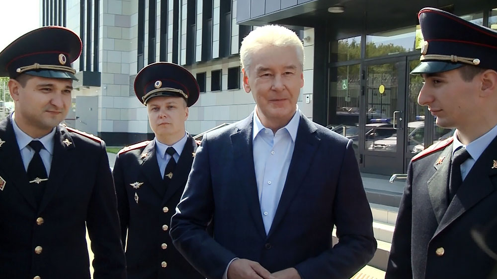 Сергей Собянин на открытии нового здания ОВД в Москве