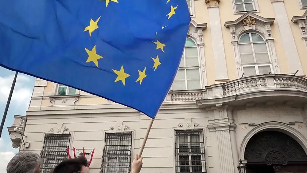 Флаг Евросоюза на митинге