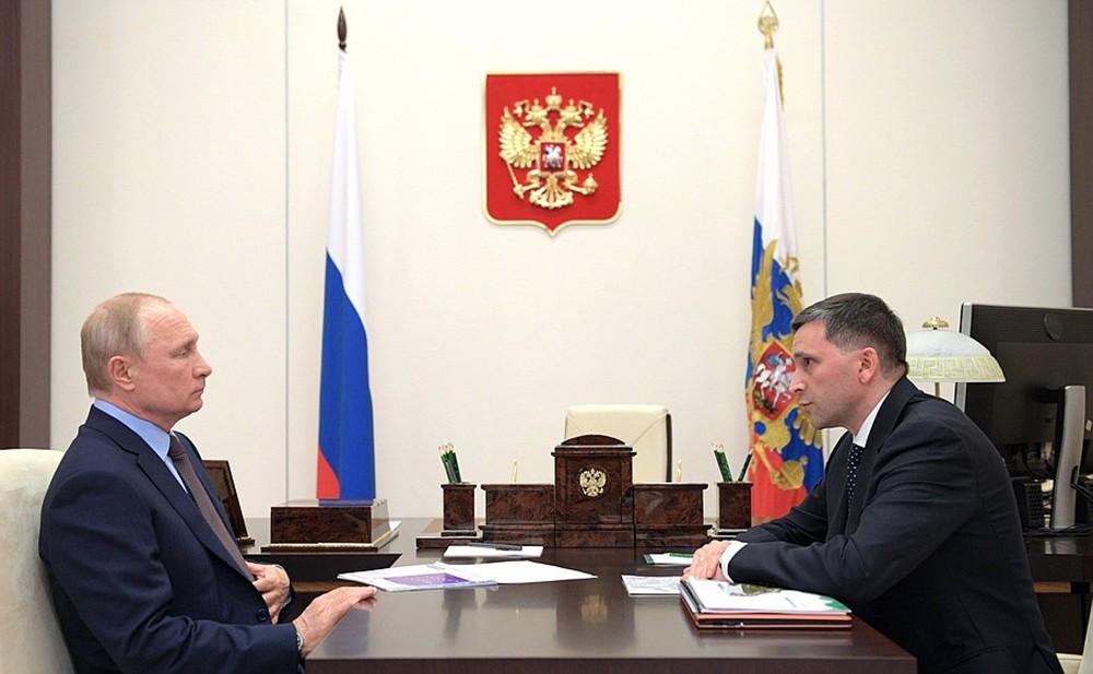 Владимир Путин и министр природных ресурсов и экологии России Дмитрий Кобылкин