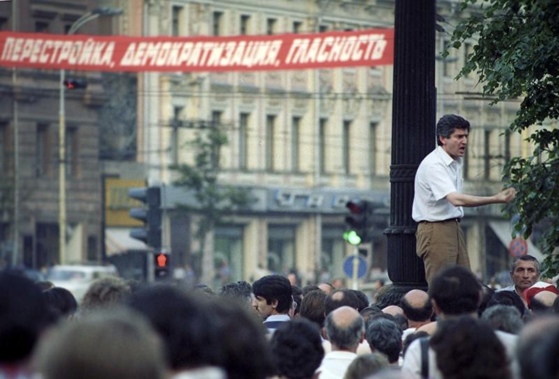 Митинг на улице Горького (Тверская) в дни работы I съезда народных депутатов СССР