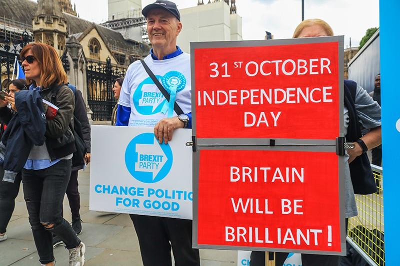 Brexit. Протестующие во время демонстрации в Лондоне