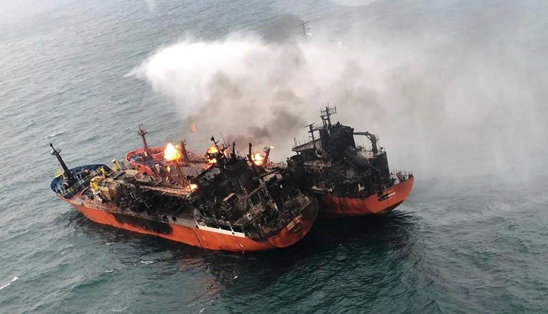 Тушение возгорания на танкере