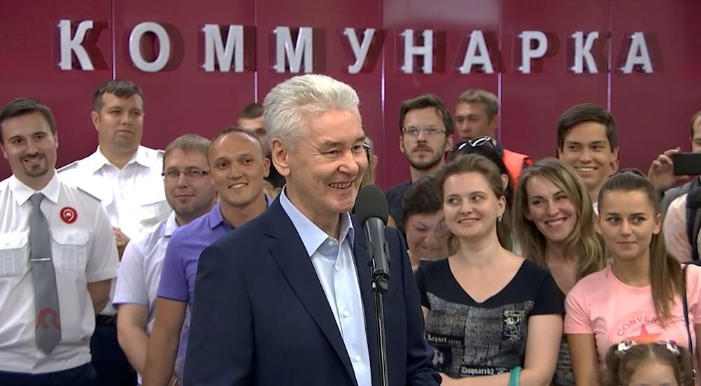 Сергей Собянин на торжественной церемонии открытия на Сокольнической ветке