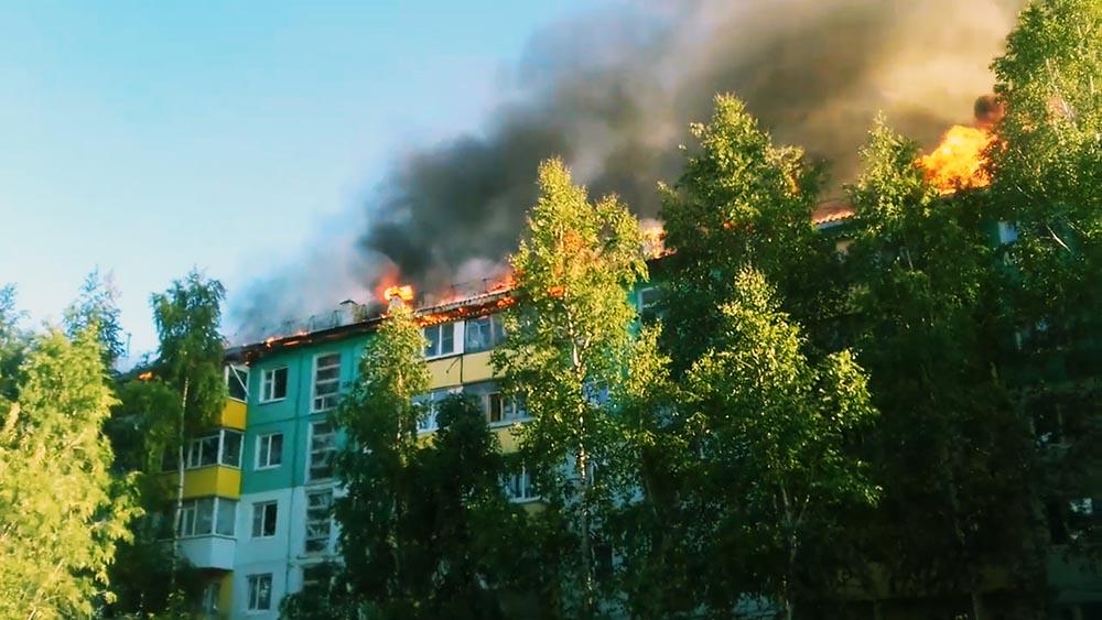 Пожар жилого дома в Нижневартовске