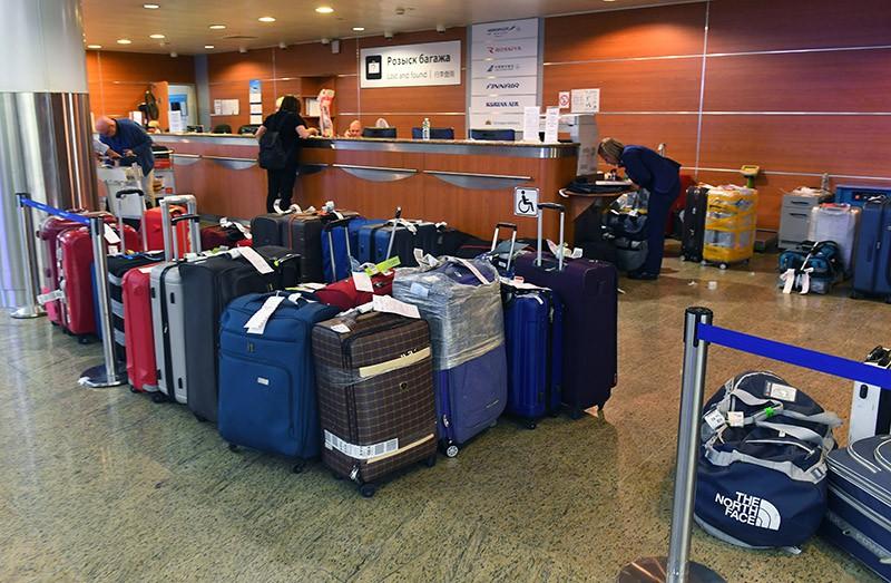 """Багаж на пункте выдачи в Международном аэропорту """"Шереметьево"""""""