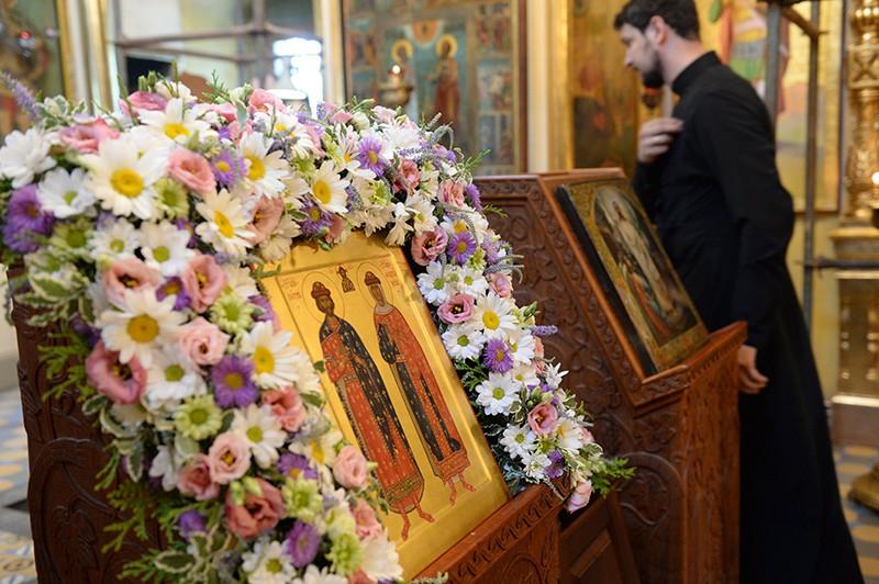 Икона православных святых князя Петра и княгини Февронии