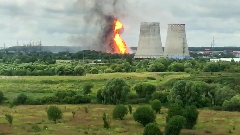 Пожар на территории ТЭЦ в Мытищах