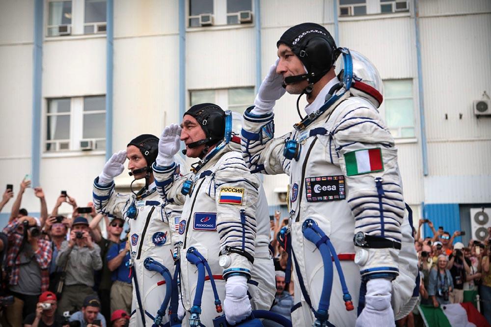 Космонавт Александр Скворцов, астронавты Лука Пармитано и Эндрю Морган
