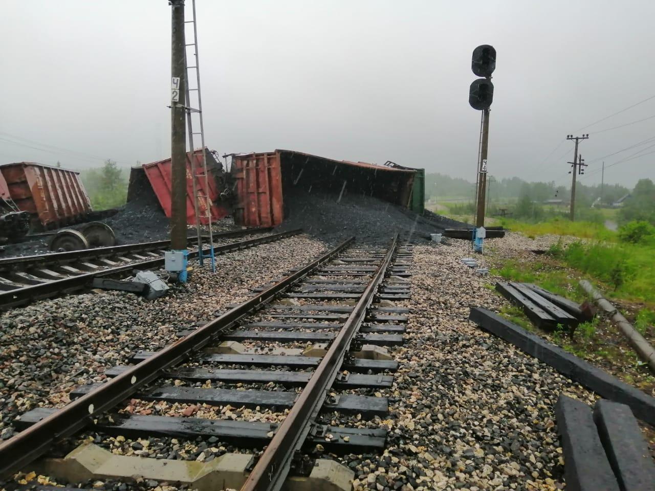 В Коми на станции Керки 23 вагона с углем сошли с рельсов