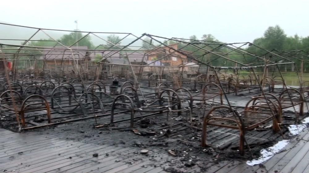 """Последствия пожара в палаточном лагере туристического комплекса """"Холдоми"""""""