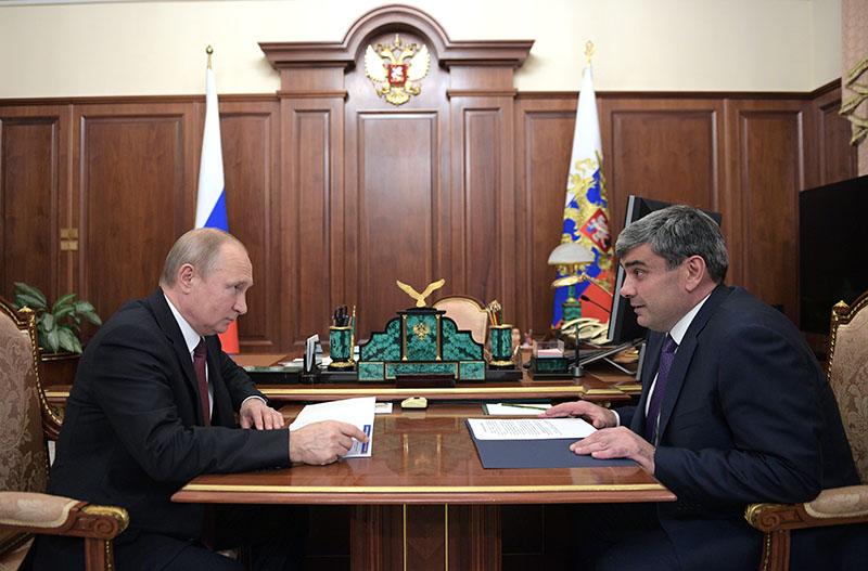 Владимир Путин и врио главы Кабардино-Балкарской Республики Казбек Коков