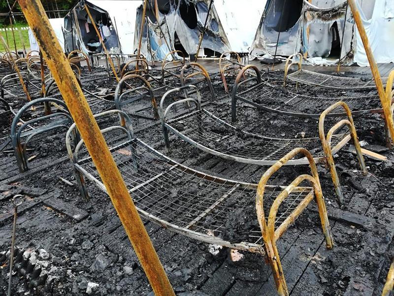 Пожар в палаточном городке в Хабаровском крае