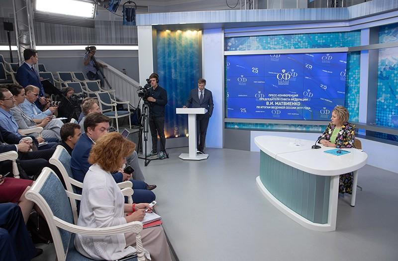 Валентина Матвиенко на пресс-конференции по итогам весенней сессии 2019 года