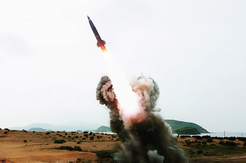 Запуск ракеты с территории КНДР