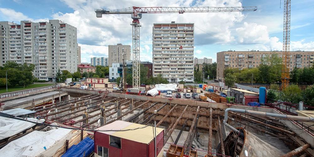 Строительство станции метро Шереметьевская