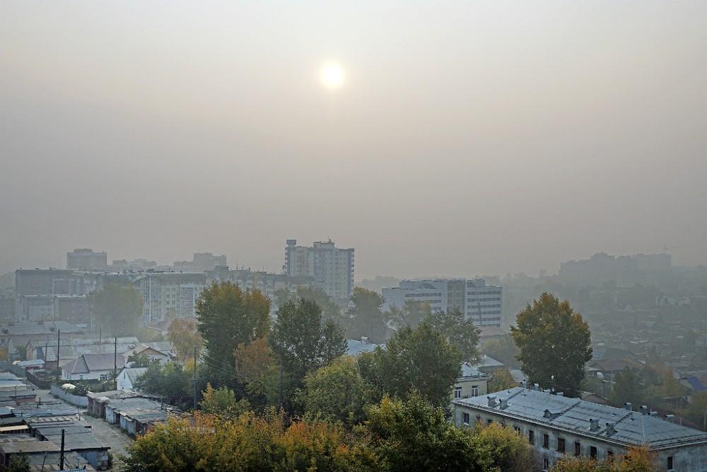Смог от лесных пожаров над городом