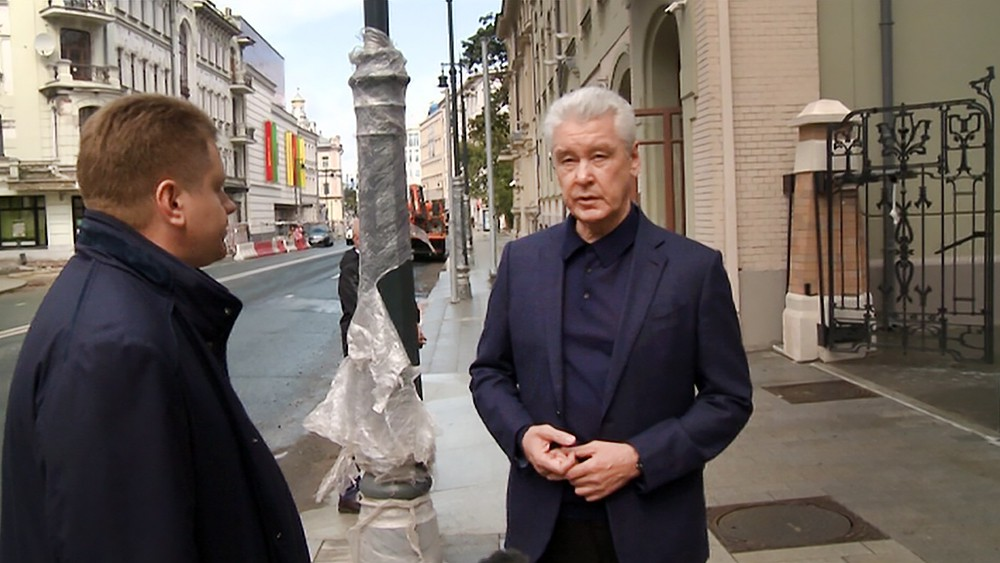 Сергей Собянин осмотрел ход благоустройства улицы Остоженки