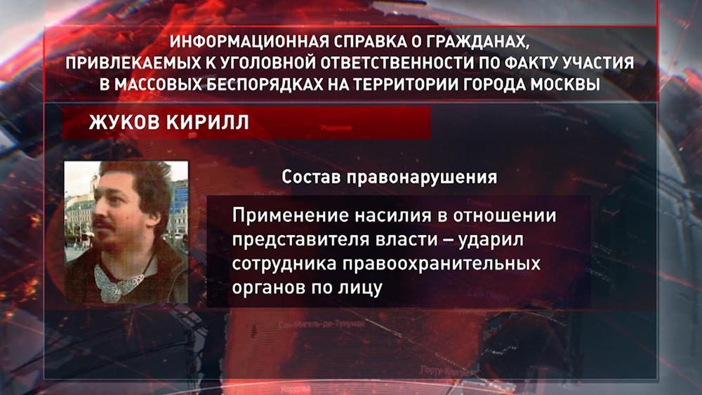 Привлеченный к уголовной ответственности по факту участия в массовых беспорядках Кирилл Жуков