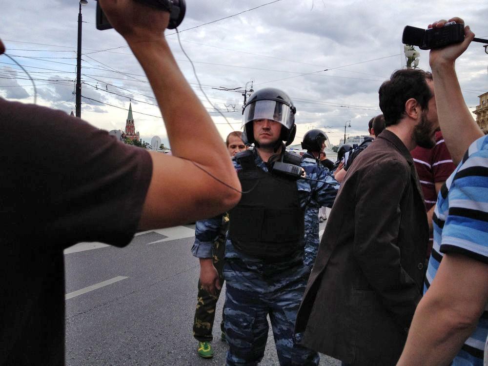 Полиция работает на месте митинга в Москве