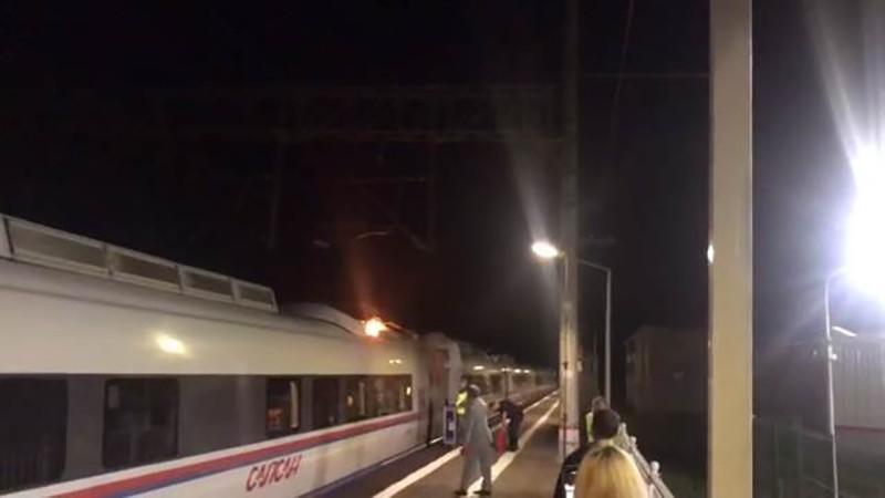 """Пожар на поезде """"Сапсан"""""""