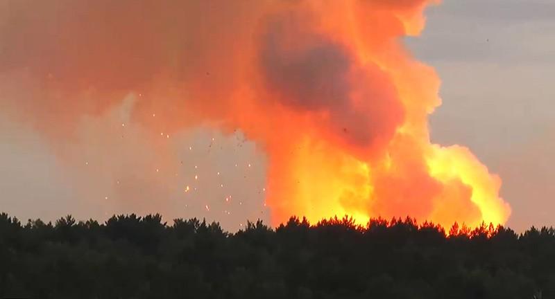 Пожар на складе хранения артиллерийских боеприпасов
