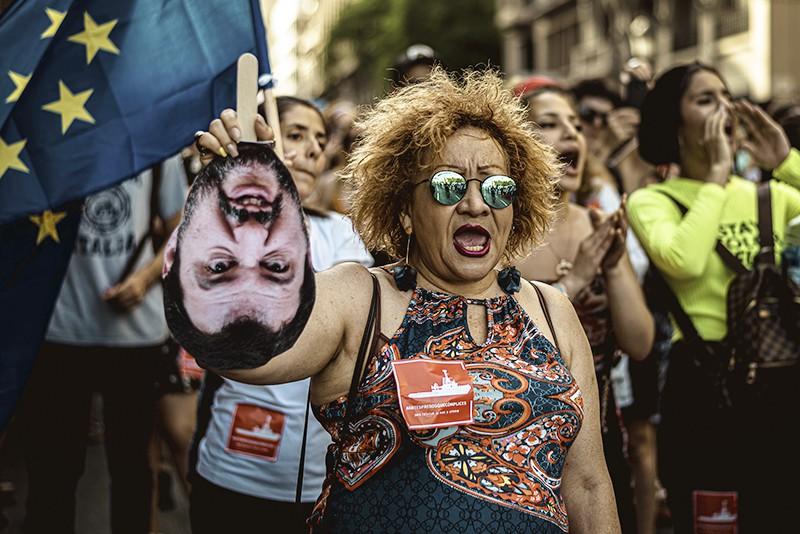 Митинг против политики вице-премьера Италии Маттео Сальвини