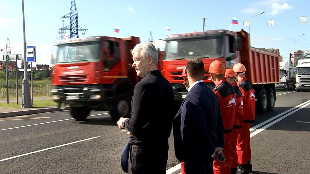 Сергей Собянин на запуске нового участка дороги