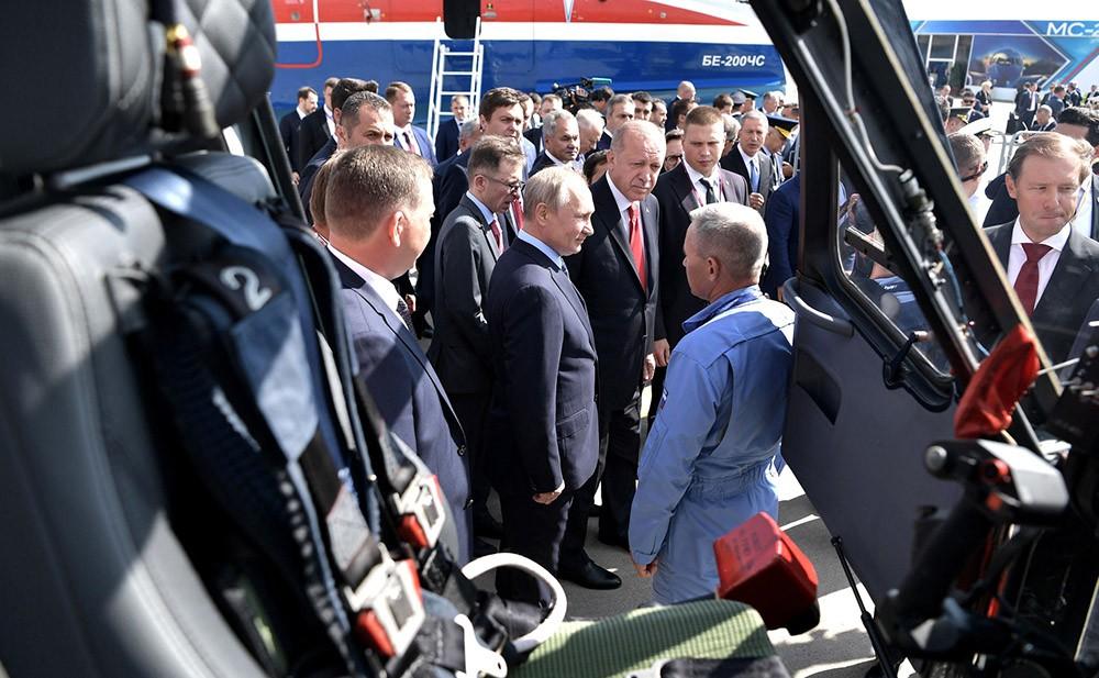 Владимир Путин и Реджеп Тайип Эрдоган на открытии Международного авиакосмического салона МАКС-2019