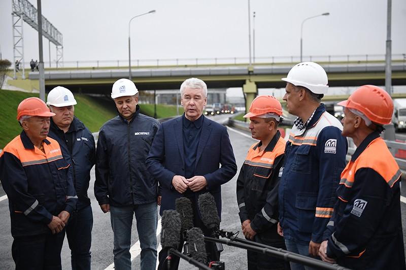 Мэр Москвы Сергей Собянин на открытии транспортной развязки