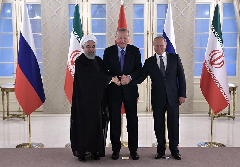 Владимир Путин, президент Турции Реджеп Тайип Эрдоган и президент Ирана Хасан Рухани