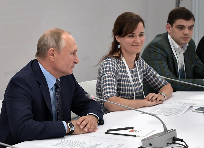 Владимир Путин во время встречи с технологическими предпринимателями