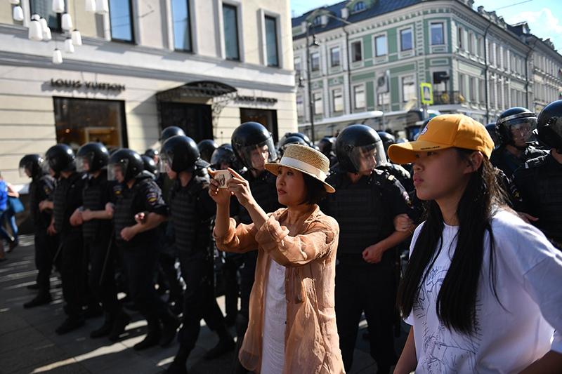 Несанкционированный митинг в Москве