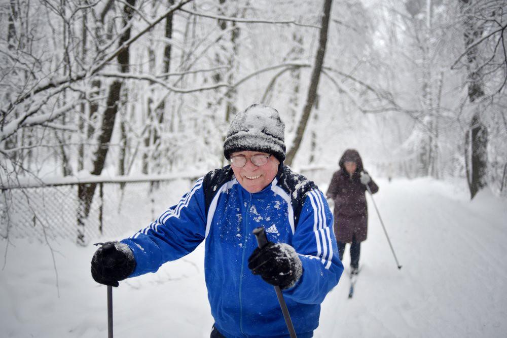 Лыжники в парке