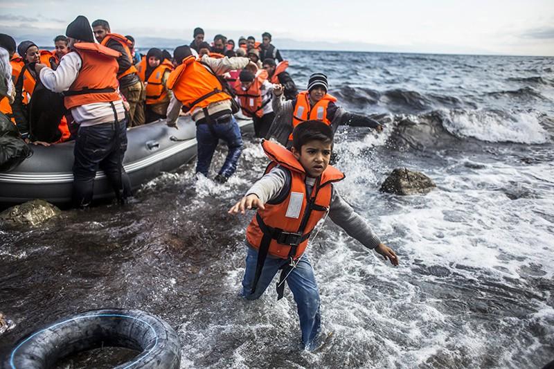 Мигранты на острове Лесбос