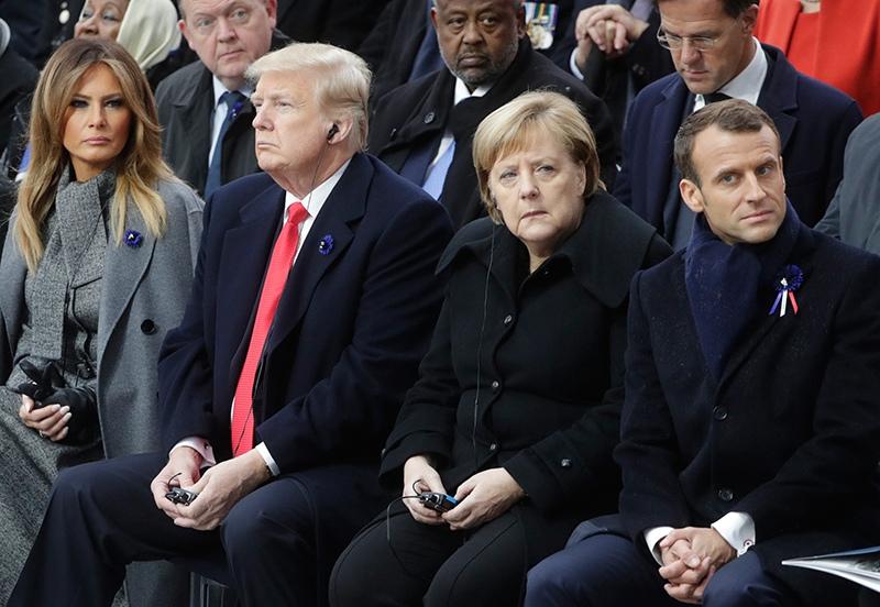 Эммануэль Макрон, Ангела Меркель, Дональд Трамп и Мелания Трамп
