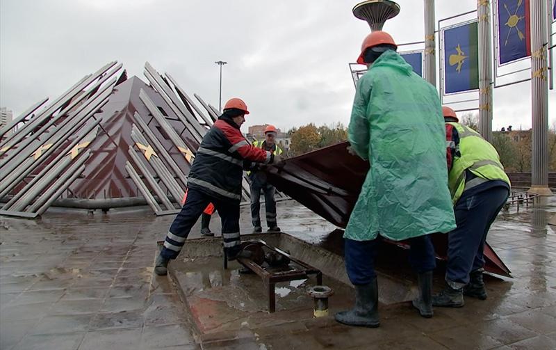 Подготовка фонтана к зиме