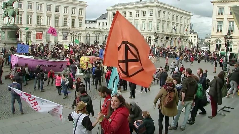 Митинг экоактивистов в Брюсселе