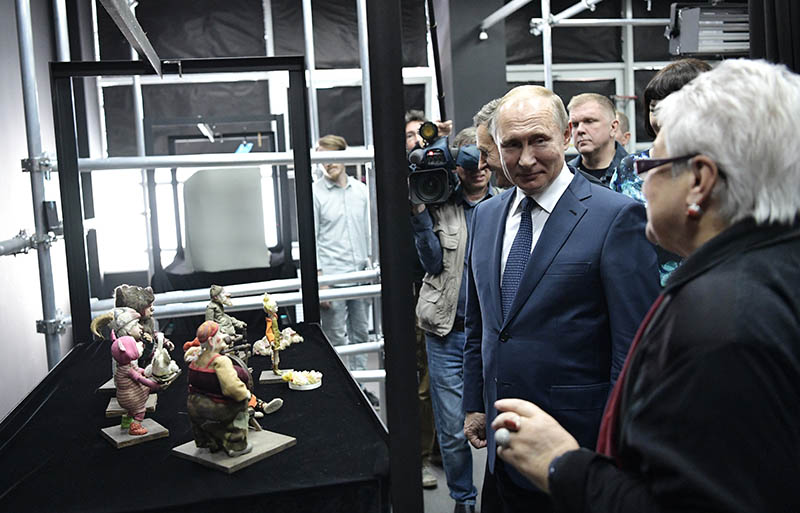 Владимир Путин во время посещения Всероссийского государственного института кинематографии имени С. А. Герасимова