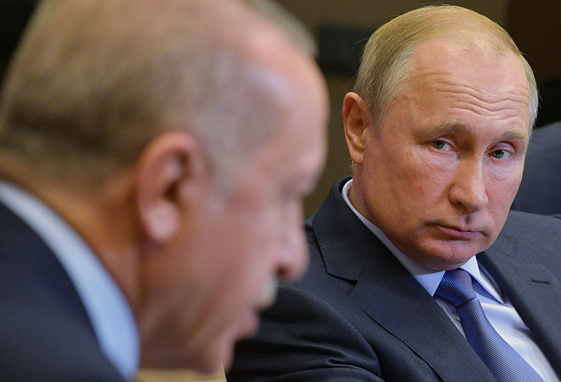 Владимир Путин и президент Турции Реджеп Тайип Эрдоган на пресс-конференции по итогам встречи