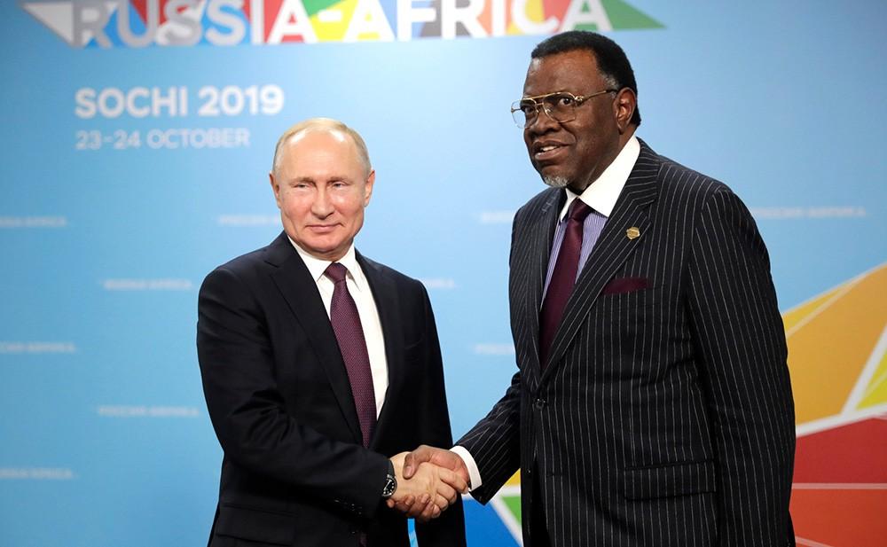 Владимир Путин и президент Намибии Хаге Готфрид Гейнгоб