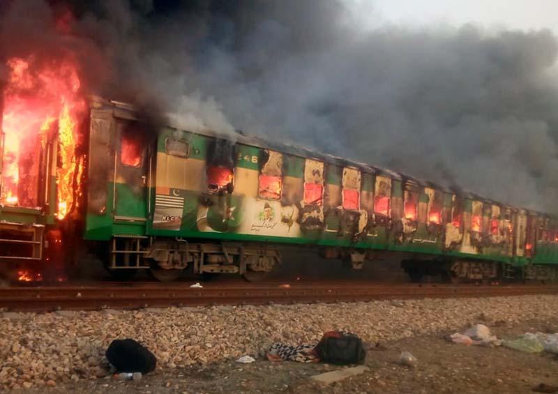Возгорание поезда в Пакистане