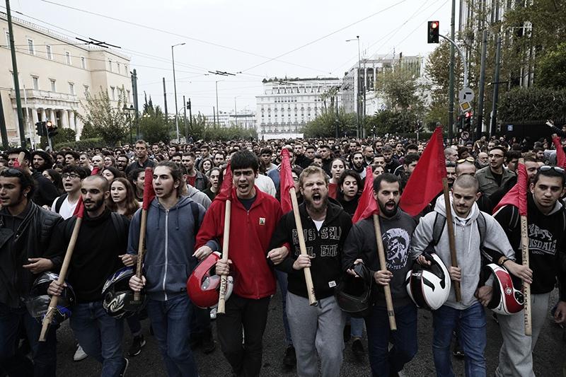 Участники акции протеста в Афинах