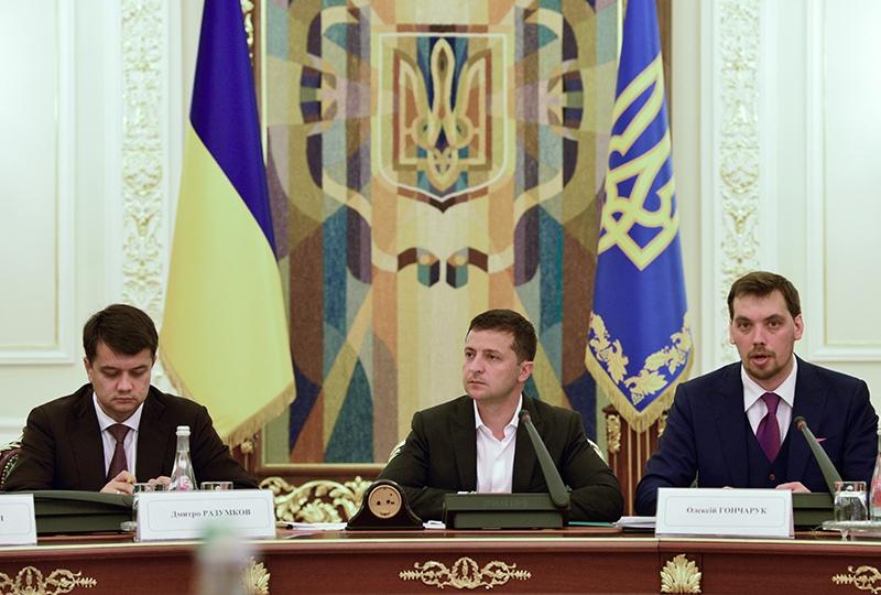 Владимир Зеленский во время встречи с руководством Верховной рады Украины