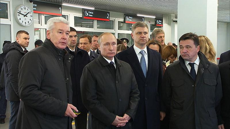 Владимир Путин и Сергей Собянин во время открытия МЦД