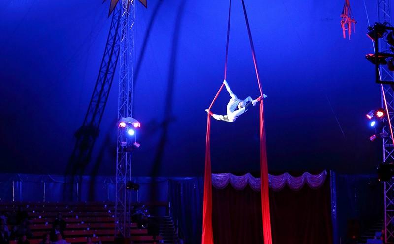 Гимнастка выступает в цирке
