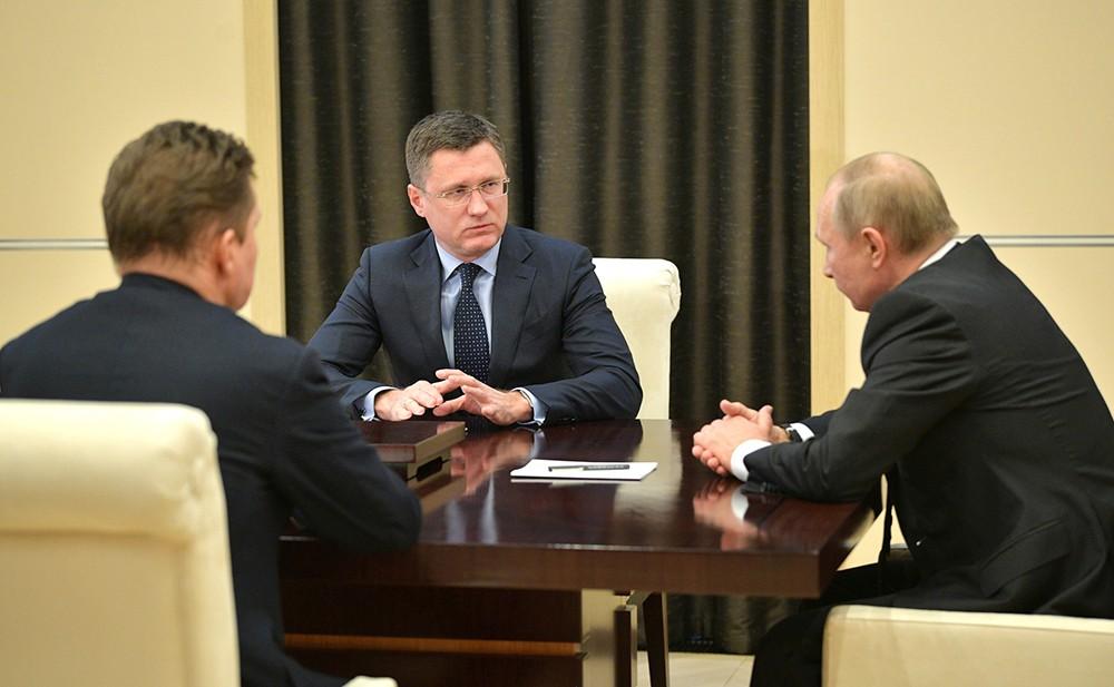 Владимир Путин, Александр Новак и Алексей Миллер