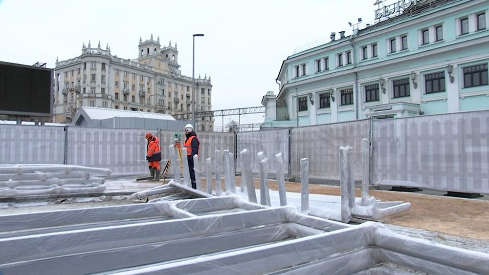 Работа по благоустройству площади Тверская Застава