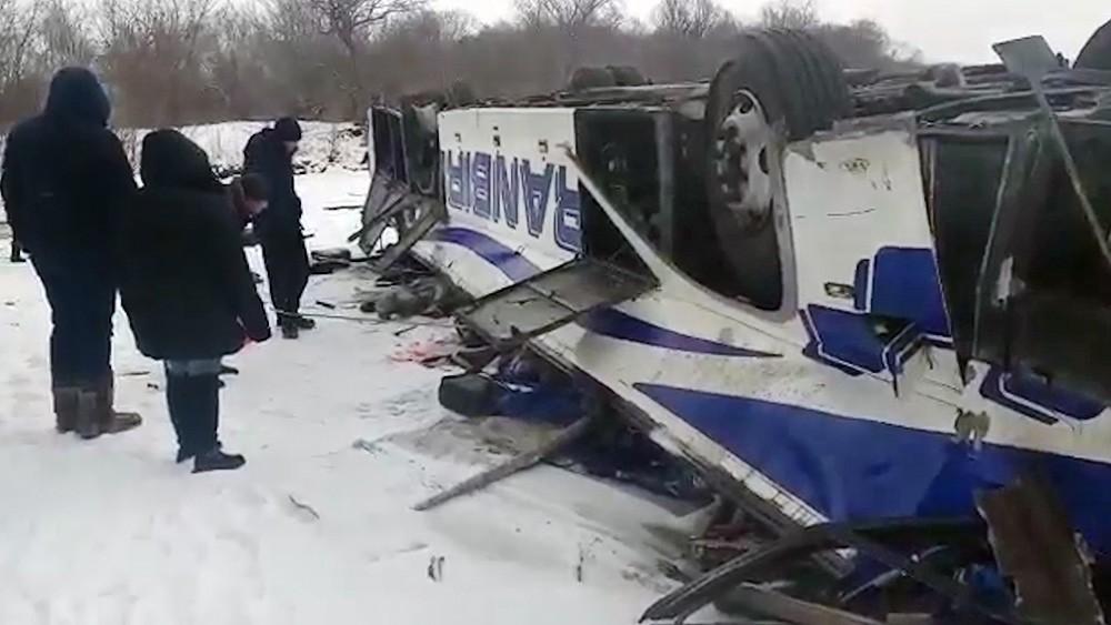 Последствия ДТП с участием автобуса в Забайкалье