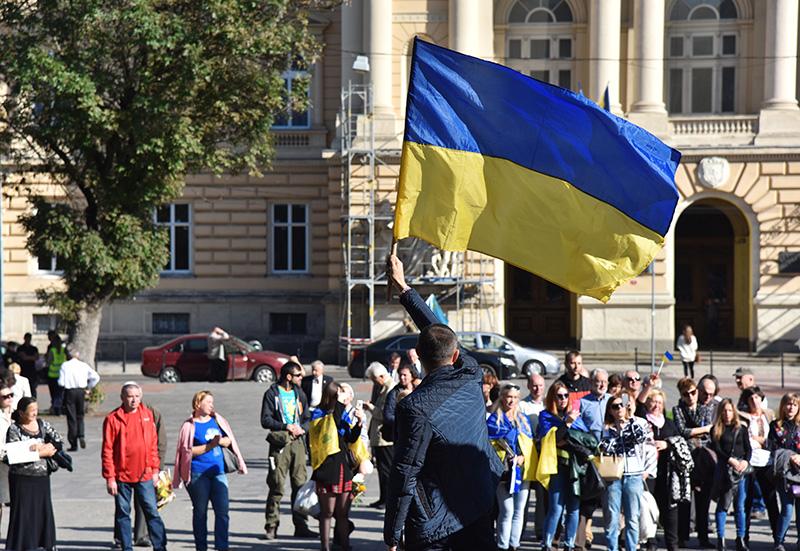 Украинцы с флагом